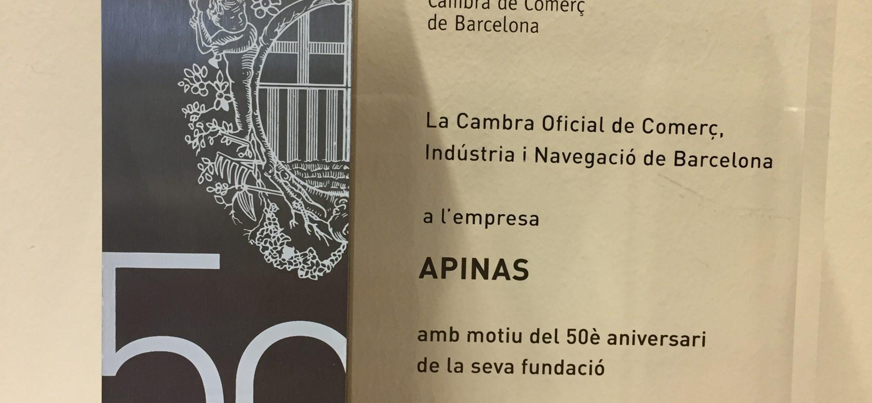La Cambra de Comerç de Barcelona fa un reconeixement a APINAS pel seu 50è aniversari
