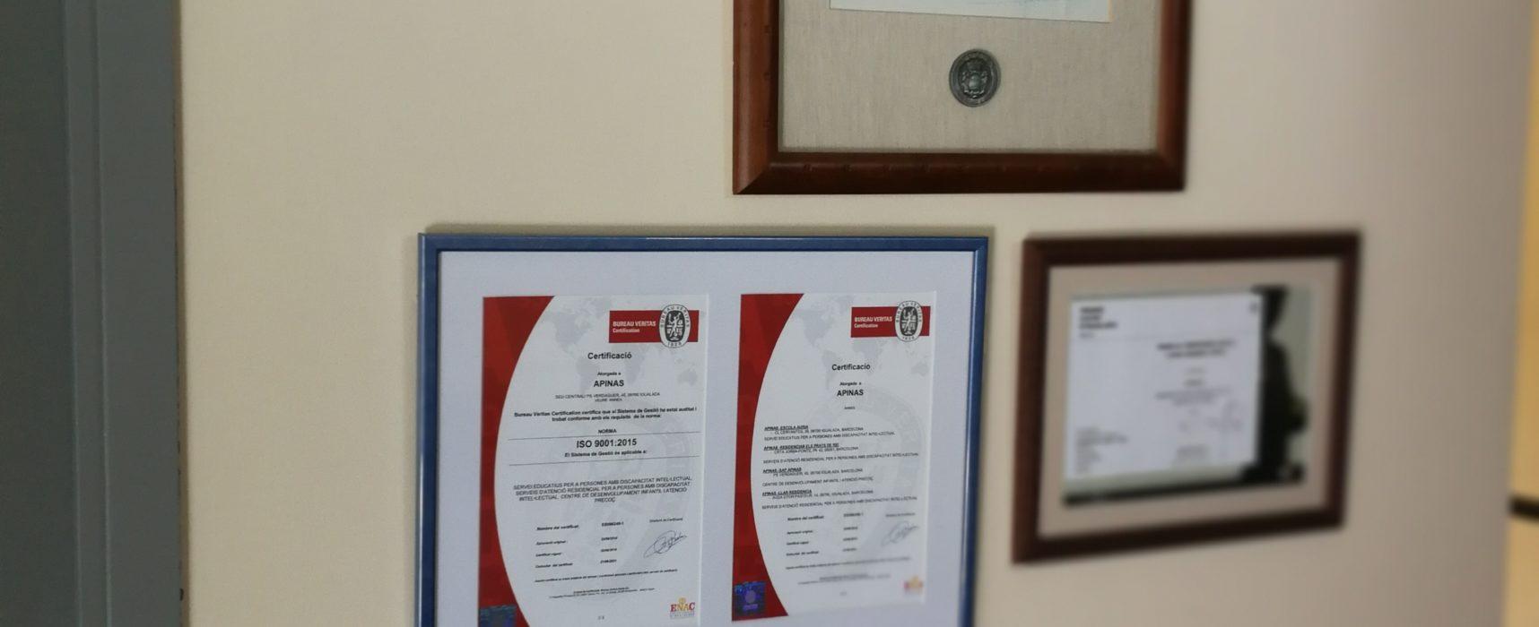 APINAS ha renovat amb èxit la certificació del seu sistema de gestió.